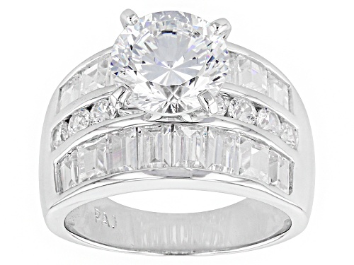 Photo of Pre-Owned Bella Luce ® Dillenum Cut 9.21ctw Rhodium Over Sterling Silver Ring (5.55ctw Dew) - Size 7