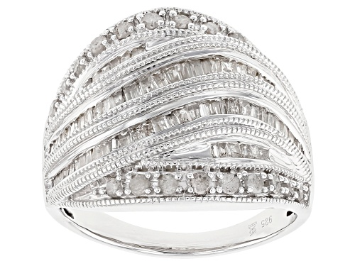 Photo of Pre-Owned 1.00ctw Round And Baguette White Diamond Rhodium Over Sterling Silver Ring - Size 5