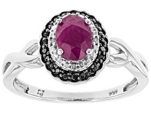 Photo of Pre-Owned .75CT OVAL RUBY, .01CTW 4 WHITE DIAMOND ACCENT, .07CTW BLACK DIAMOND ACCENT RHODIUM OVER S - Size 7