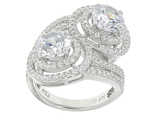 Photo of Pre-Owned Bella Luce ® 5.38ctw Rhodium Over Sterling Silver Ring (3.26ctw Dew) - Size 5