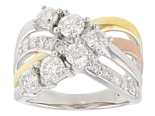 Photo of Pre-Owned Moissanite Fire® 1.30ctw Dew Platineve™ With 14k Yellow And Rose Gold Over Platineve Ring - Size 9