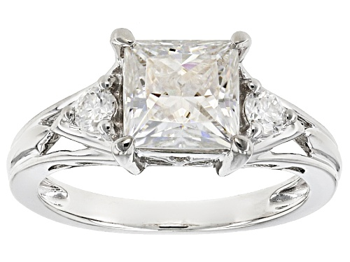 Photo of Pre-Owned Moissanite Fire® 2.02ctw Dew Princess Cut And Round Platineve™ Ring - Size 7