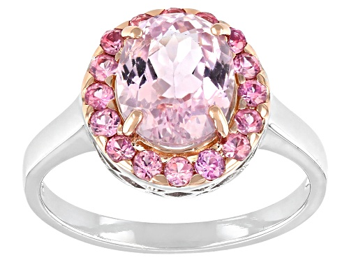 Photo of Pre-Owned 2.64ct Oval Brazilian Kunzite And .64ctw Round Pink Sapphire Sterling Silver Ring - Size 6