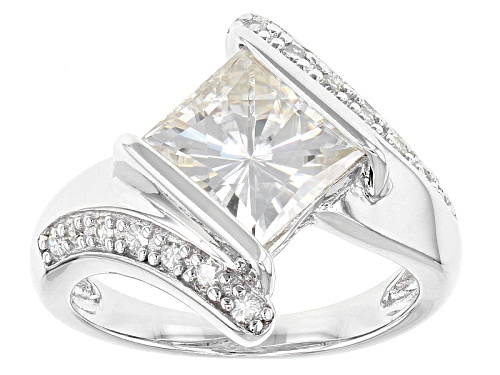 Photo of Pre-Owned Moissanite Fire® 3.24ctw Dew Square Brilliant And Round Platineve™ Ring - Size 7