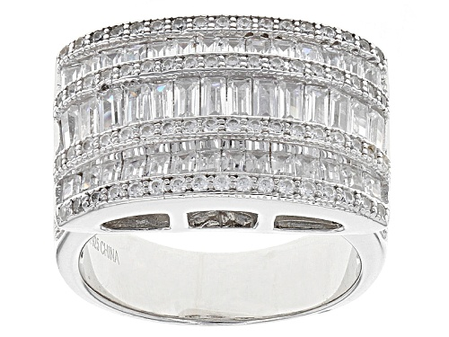 Photo of Pre-Owned Bella Luce ® 3.54ctw White Diamond Simulant Rhodium Over Sterling Silver Ring (2.79ctw Dew - Size 6