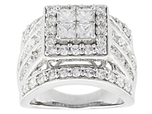 Photo of Pre-Owned Bella Luce ® 6.60ctw Diamond Simulant Rhodium Over Sterling Silver Ring (3.34ctw Dew) - Size 5