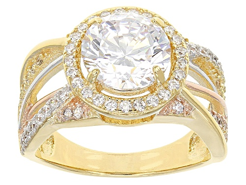 Photo of Pre-Owned Bella Luce®4.19ctw Rhodium Over Sterling Silver And Eterno ™ Yellow And Rose Ring (2.37ctw - Size 10