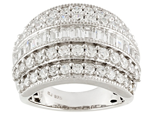 Pre-Owned Bella Luce ® 5.95ctw Baguette And Round Rhodium Over Sterling Silver Ring - Size 6