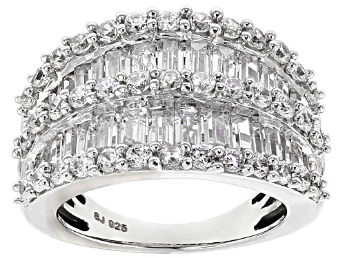 Photo of Pre-Owned Bella Luce ® 6.90ctw Diamond Simulant Baguette & Round Rhodium Over Sterling Ring (3.06ctw - Size 5