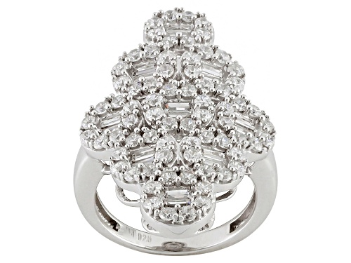 Photo of Pre-Owned Bella Luce ® 4.20ctw Diamond Simulant Round & Baguette Rhodium Over Silver Ring (2.70ctw D - Size 6