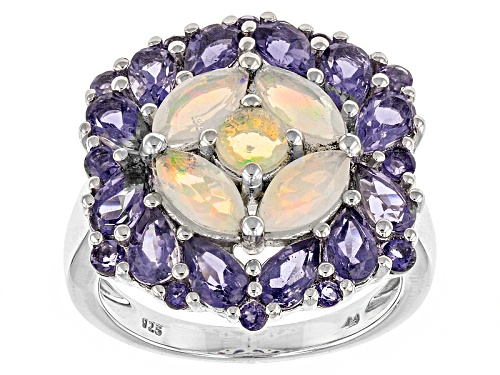 Photo of Pre-Owned 1.13ctw Round And Marquise Ethiopian Opal With 2.31ctw Iolite Sterling Silver Ring - Size 5