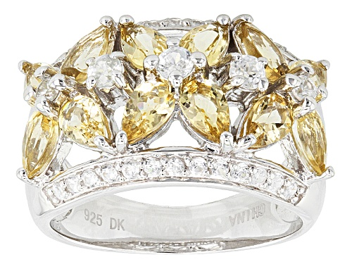 Photo of Pre-Owned 2.04ctw Pear Shape Brazilian Yellow Beryl And .58ctw Round White Zircon Sterling Silver Ba - Size 8