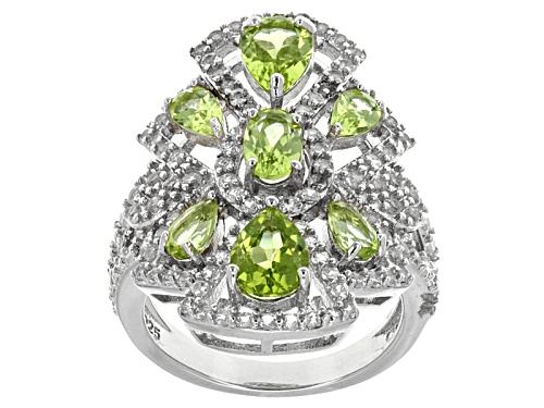 Photo of Pre-Owned 2.26ctw Oval And Pear Shape Manchurian Peridot™, 1.06ctw Round White Topaz Silver Ring - Size 5