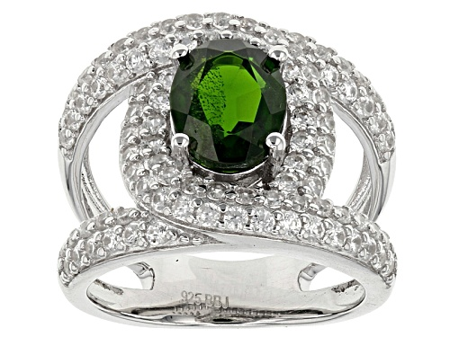 Photo of Pre-Owned 2.10ct Oval Russian Chrome Diopside With 2.17ctw White Zircon Sterling Silver Ring - Size 12
