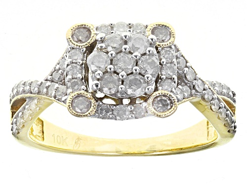 Photo of Pre-Owned .75ctw Round White Diamond 10k Yellow Gold Ring - Size 9