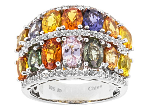 Photo of Pre-Owned 7.80ctw Oval Multi-Color Sapphire With .62ctw Round White Zircon Sterling Silver Band Ring - Size 11