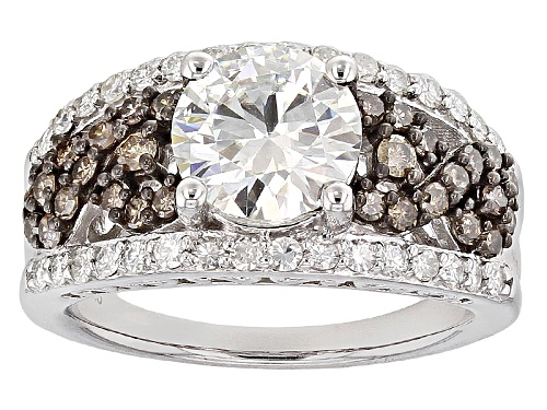 Photo of Pre-Owned Moissanite Fire® 2.39ctw Dew With .47ctw Champagne Diamond Platineve™ Ring - Size 9