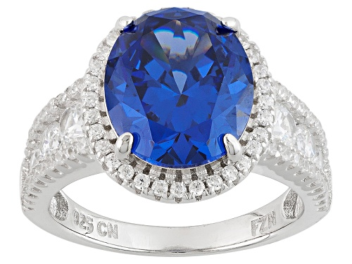 Photo of Pre-Owned Bella Luce ® 10.01ctw Tanzanite And White Diamond Simulants Rhodium Over Sterling Silver R - Size 7