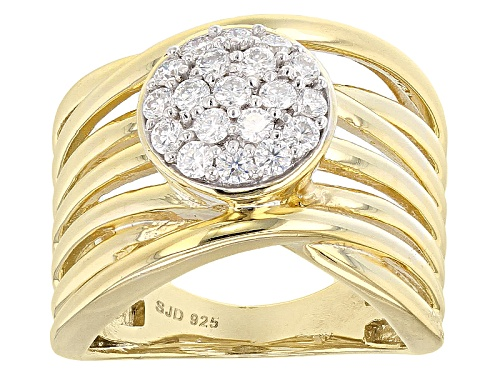 Photo of Pre-Owned Moissanite Fire® .57ctw Diamond Equivalent Weight Round 14k Yellow Gold Over Sterling Silv - Size 7