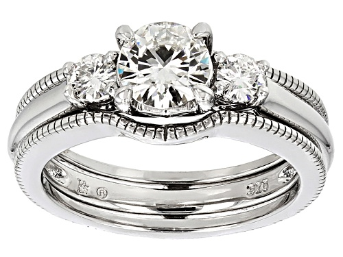 Photo of Pre-Owned Moissanite Fire® 1.06ctw Diamond Equivalent Weight Round Platineve™ Ring And Guard - Size 6