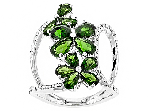 Photo of Pre-Owned 3.60ctw Pear Shape Russian Chrome Diopside Sterling Silver Floral Ring - Size 7