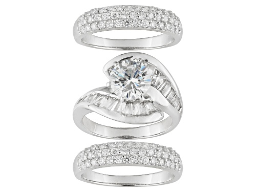 Photo of Pre-Owned Bella Luce ® 7.31ctw Rhodium Over Sterling Silver Ring With Bands (5.93ctw Dew) - Size 7