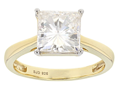 Photo of Pre-Owned Moissanite Fire® 3.10ct Dew Square Brilliant 14k Yellow Gold Over Silver Ring - Size 9