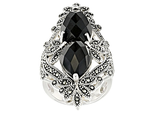 Photo of Pre-Owned 12.92ctw Pear Shape Black Spinel With Round Marcasite Sterling Silver 2-stone Ring - Size 5