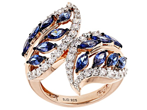 Photo of Pre-Owned Bella Luce ® Esotica ™ 5.08CTW Tanzanite And White Diamond Simulants Eterno ™ Rose Ring - Size 7