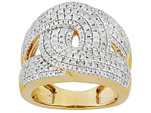 Photo of Pre-Owned 1.50ctw White Diamond, 14k Yellow Gold Over Sterling Silver Ring - Size 7
