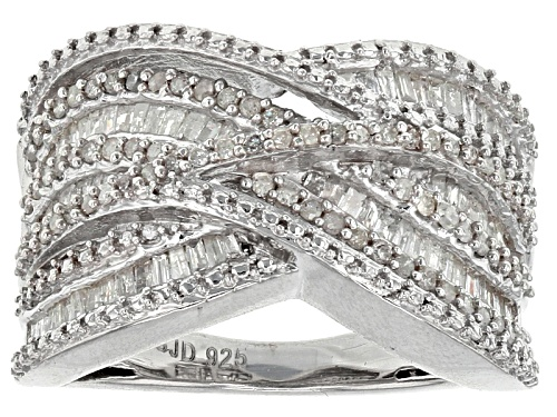 Photo of Pre-Owned .65ctw Baguette And Round White Diamond Rhodium Over Sterling Silver Crossover Ring - Size 7