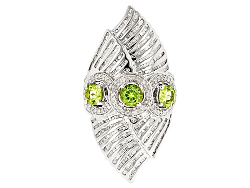 Photo of Pre-Owned 1.85ctw Round Peridot With 1.50ctw Round White Diamond Sterling Silver 3-Stone Ring - Size 5