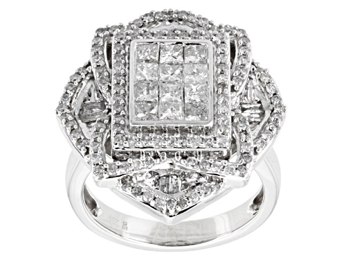 Photo of Pre-Owned 1.50ctw Princess Cut, Round, And Baguette Diamond 10k White Gold Ring - Size 8