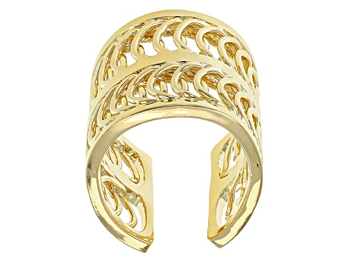 Photo of Pre-Owned Moda Al Massimo® 18k Yellow Gold Over Bronze Wide Circle Link Band Ring - Size 4.5