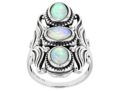 Photo of Pre-Owned 1.50ctw Oval Cabochon Ethiopian Opal Sterling Silver 3-Stone Ring - Size 7