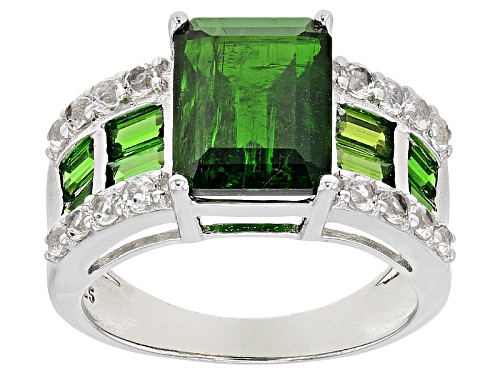 Photo of Pre-Owned 3.40ct Emerald Cut With 1.00ctw Baguette Chrome Diopside And .80ctw Round White Topaz Silv - Size 8