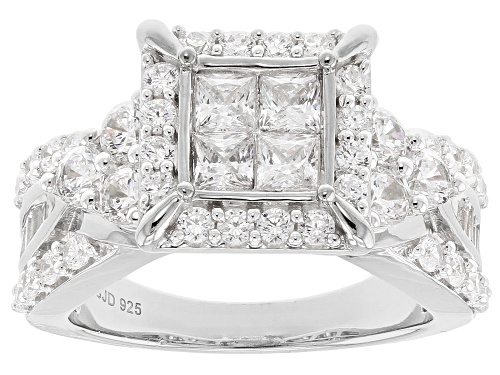 Photo of Pre-Owned Bella Luce ® 4.00CTW White Diamond Simulant Rhodium Over Sterling Silver Ring (2.49CTW DEW - Size 5