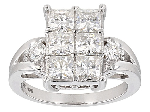 Photo of Pre-Owned Moissanite Fire® 2.66ctw Diamond Equivalent Weight Square Brilliant And Round Platineve™ R - Size 7