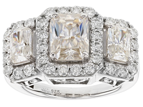 Photo of Pre-Owned Moissanite Fire® 3.94ctw Dew Radiant Cut And Round Platineve™ Ring - Size 7