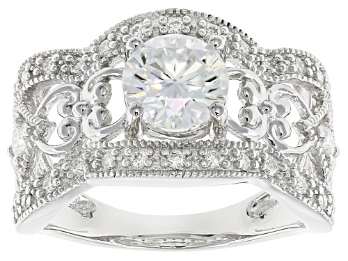 Photo of Pre-Owned Moissanite Fire® 1.62ctw Diamond Equivalent Weight Round Platineve™ Ring - Size 7