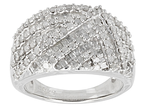 Photo of Pre-Owned 1.50ctw Round And Baguette White Diamond Rhodium Over Sterling Silver Band Ring - Size 6