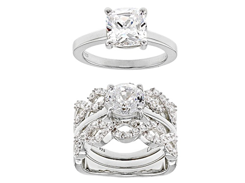 Photo of Pre-Owned LoveMore By Lisa Mason ™ Bella Luce ® Rhodium Over Sterling Silver Rings With Guard - Size 12