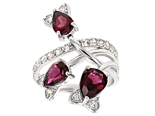 Photo of Pre-Owned 2.38ctw Raspberry color Rhodolite And .63ctw White Zircon Sterling Silver 3-Stone Ring - Size 6