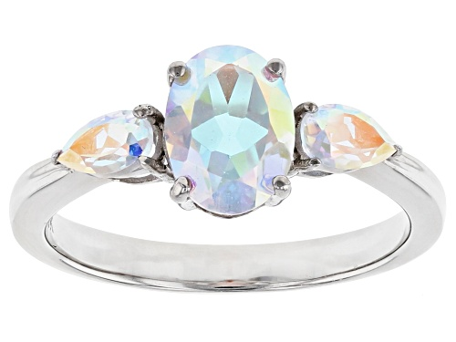 Photo of Pre-Owned 1.82ctw Oval and Pear Shape Mercury Mist® Topaz Rhodium Over 10k White Gold 3-Stone Ring - Size 8