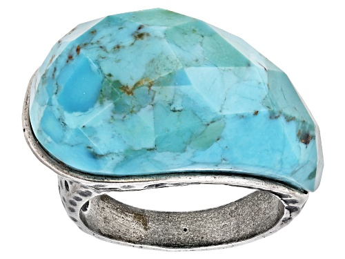 Photo of Pre-Owned Southwest Style by JTV™ free-form Mohave Kingman turquoise sterling silver ring - Size 6