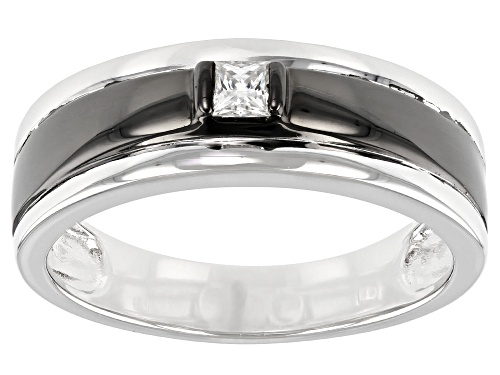 Photo of Pre-Owned MOISSANITE FIRE(R) .18CT DEW SQUARE BRILLIANT CUT PLATINEVE(R) AND BLACK RHODIUM MENS RING - Size 10