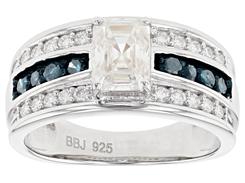 Photo of Pre-Owned MOISSANITE FIRE(R) 1.41CTW DEW AND .28CTW BLUE DIAMOND PLATINEVE(R) RING - Size 7