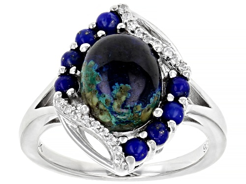 Photo of Pre-Owned 10x8mm Oval Azurmalachite, 2.5mm Lapis Lazuli and .08ctw White Zircon Rhodium Over Silver - Size 9