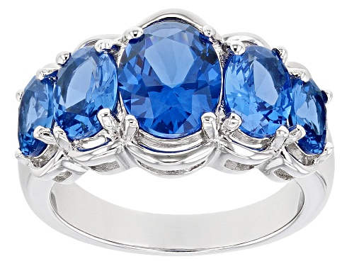 Photo of Pre-Owned 3.93ctw Oval Lab Created Blue Spinel Rhodium Over Sterling Silver 5-Stone Ring - Size 10