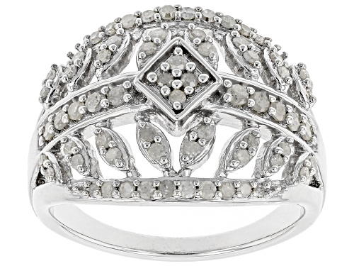 Photo of Pre-Owned 0.55ctw Round White Diamond Rhodium Over Sterling Silver Ring - Size 6
